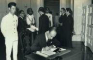 The new Italian Ambassador Dr Roberto De Cardona signing roll of Ambassadors after presenting his credentials at the Istana