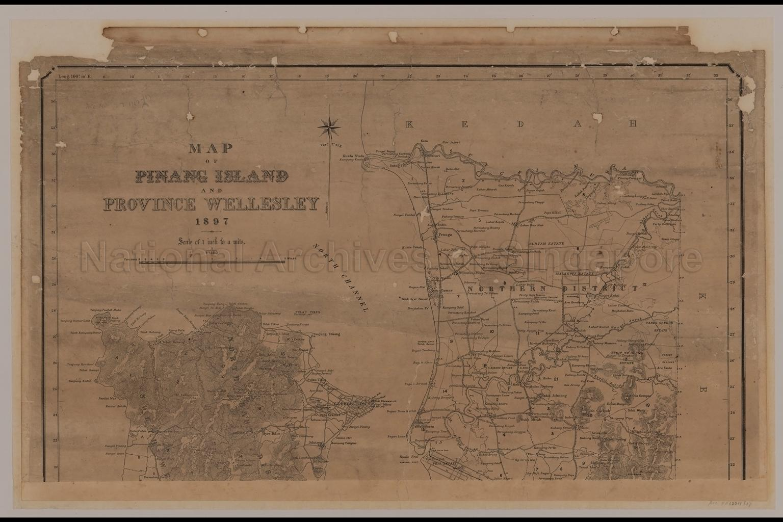 Map of Pinang Island and Province Wellesley,1897