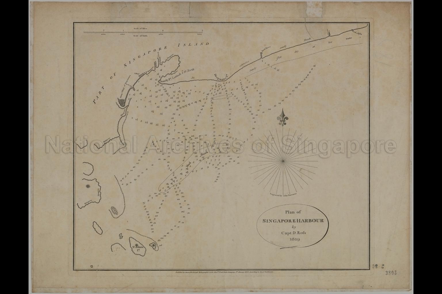 Plan Of Singapore Harbour By Captain D. Ross (Rofs)