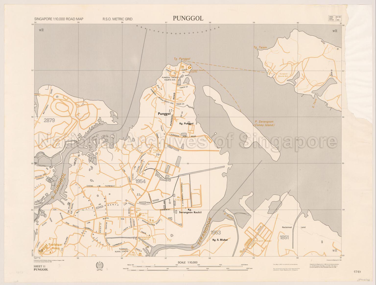 Singapore Road Map. Punggol