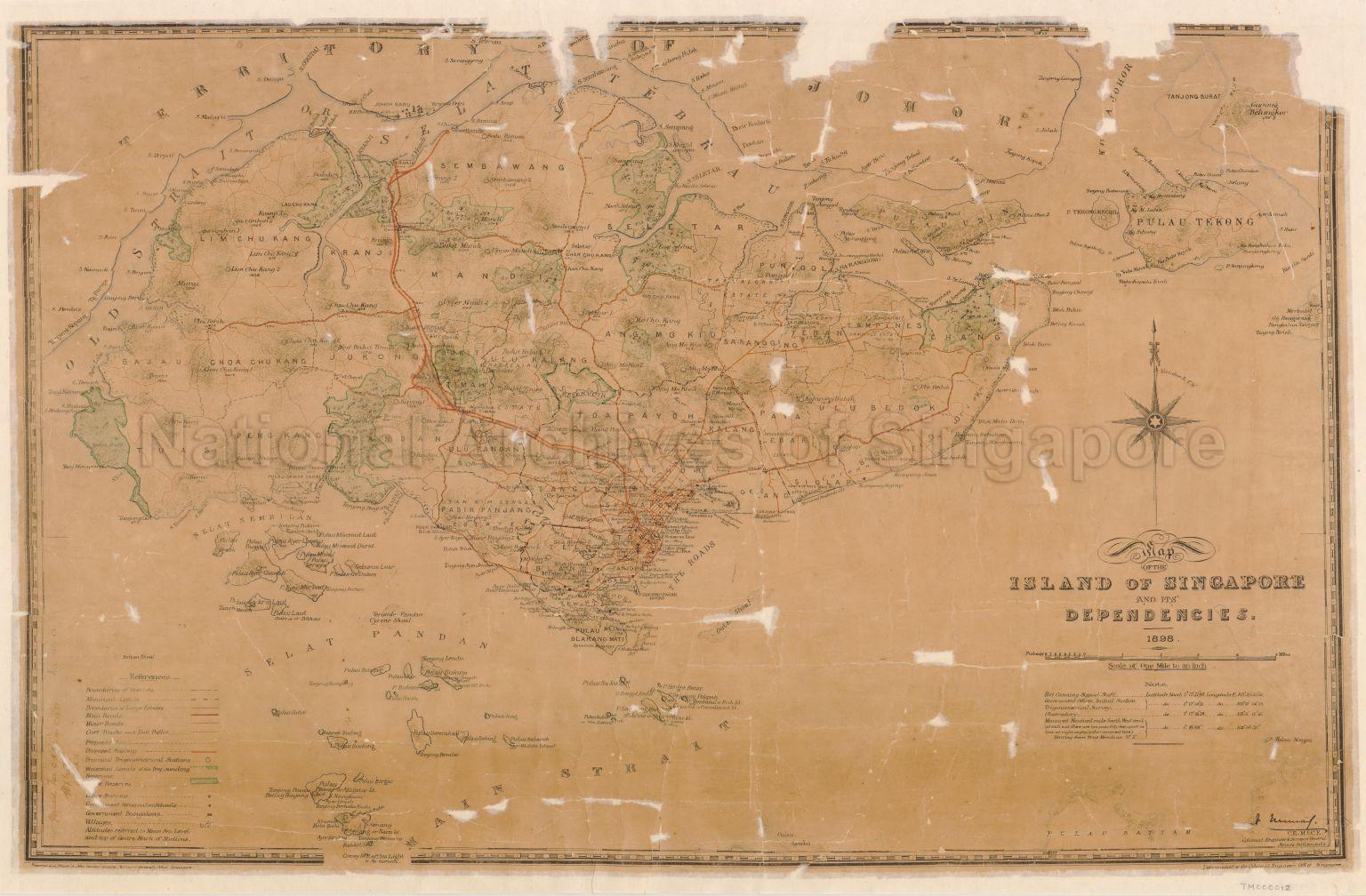 Map Of The Island Of Singapore And Its Dependencies 1898