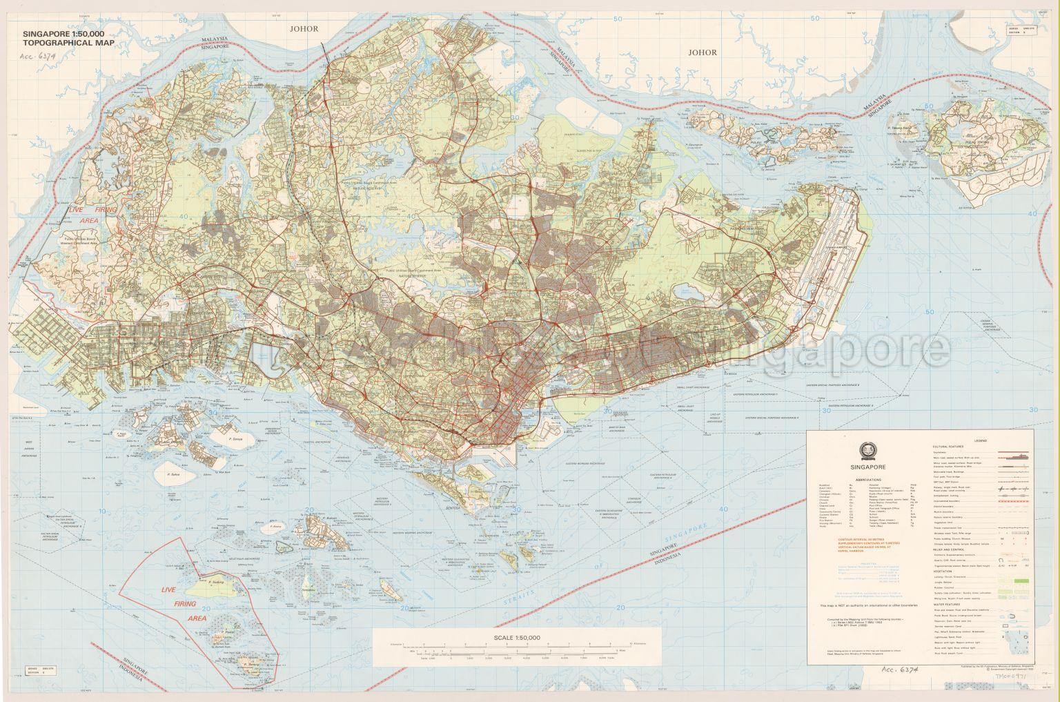 Singapore Topographical Map