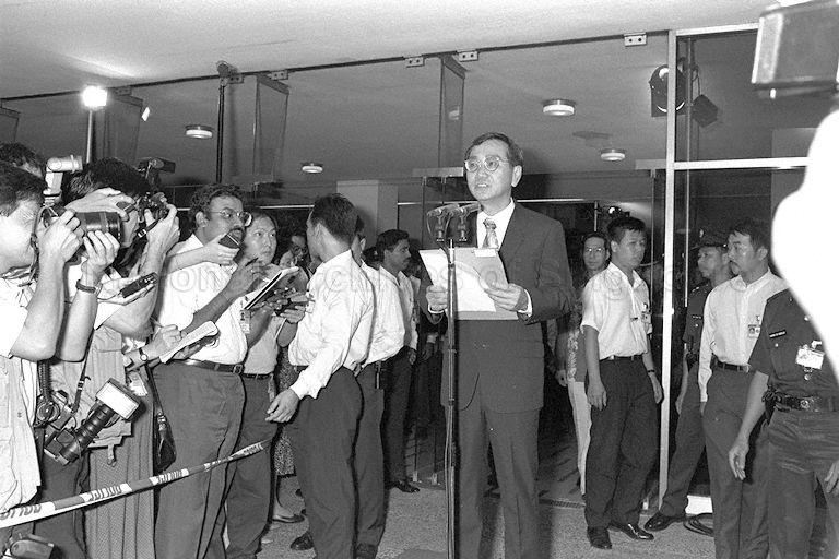 Returning Officer Ong Kok Min announcing result of the first presidential election at Singapore Conference Hall