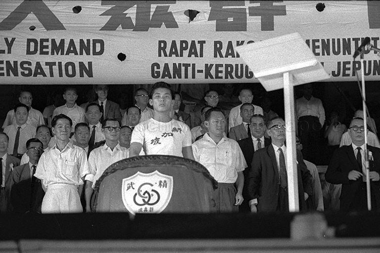 Then Prime Minister Lee Kuan Yew (third from right) at the