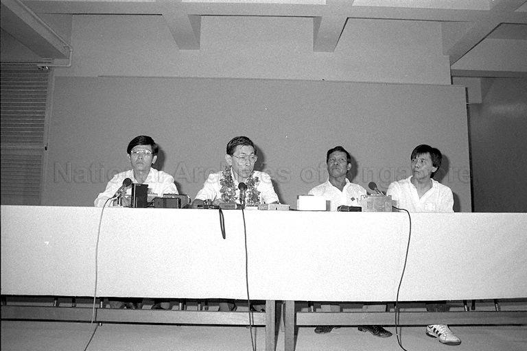 SDP holding a press conference at Braddell Secondary School after winning Potong Pasir constituency in GE 1988. From left: Sin Kek Tong (Braddell Heights), Chiam See Tong (Potong Pasir), and Mohamed Shariff b Yahya (Kim Keat). Source: NAS