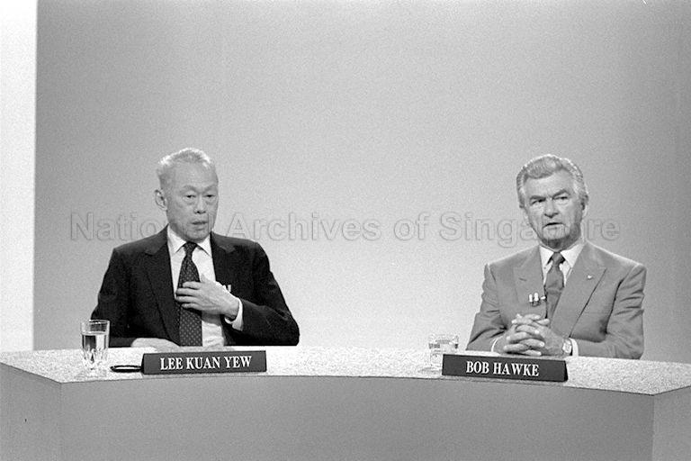 Prime Minister Lee Kuan Yew and Australian Prime Minister Bob Hawke at the interview with four Australian journalists at Singapore Broadcasting Corporation during the Australian PM's visit to Singapore