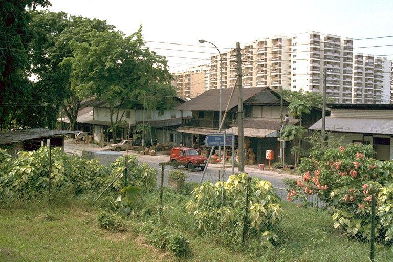 Jurong Road -- View from Sin Nan Public School and old shophouses located at 12 milestone around Hong Kah Village, contrasting with newer Housing and Development Board (HDB) flats in the background