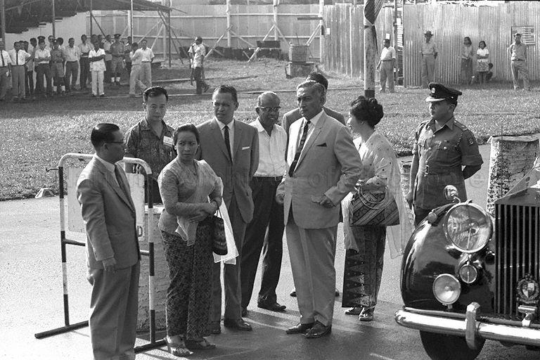 President Yusof Ishak and Puan Noor Aishah with Minister for Culture and Social Affairs Othman Wok and his wife at Thomson Road racing circuit during Singapore Grand Prix 1966