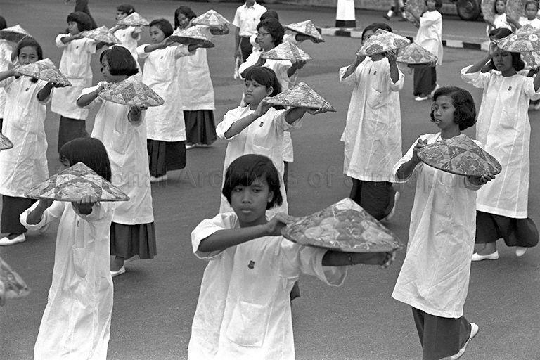National Day Parade 1966 Rehearsal -  Close-up of students from Malay girls' school practising dance routine