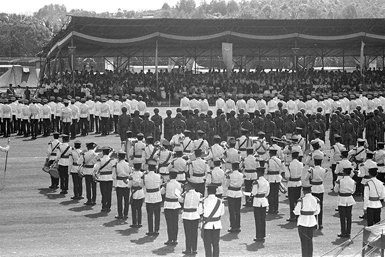 Commissioning parade of the first batch of 117 officer cadets, who have completed a 12-month intensive training at Singapore Armed Forces Training Institute (SAFTI), at Pasir Laba Camp, Jurong. The parade was reviewed by Minister of the Interior and Defence Dr Goh Keng Swee.