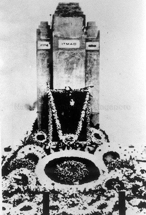 Wreaths laid at the Indian National Army War Memorial in memory of Subhas Chandra Bose after news of his death on 19 August 1945 in a plane crash