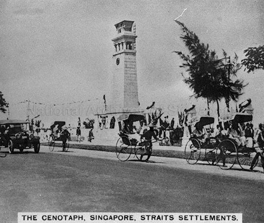 The Cenotaph at Connaught Drive, Singapore. It is a war memorial which commemorates the sacrifice of men who perished during World War I, and was later extended in 1950 to include those who died in World War II.