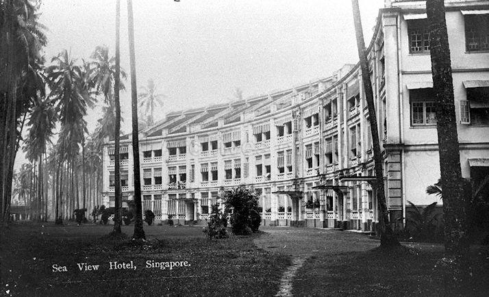 Sea View Hotel, Singapore. Established in 1906, the hotel was situated in a grove of coconut trees near the sea at Tanjong Katong.