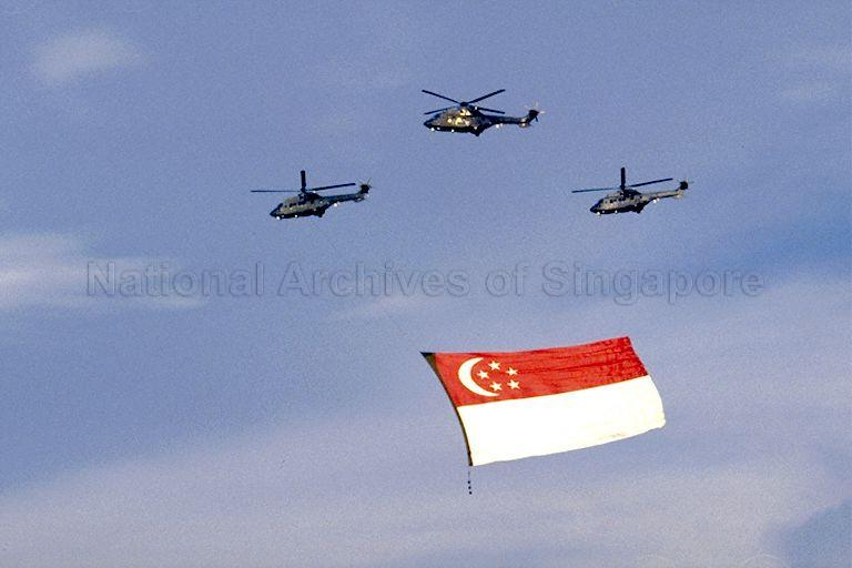 National Day Parade 1990 Rehearsal at the Padang -- Flypast of State flag