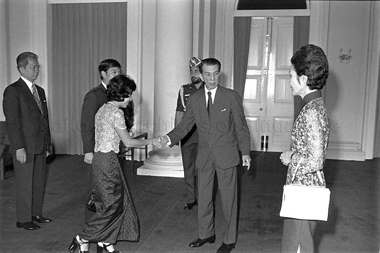 Khmer Republic's Foreign Minister Keuky Lim and his wife calling on President and Mrs Benjamin Henry Sheares at Istana. On the far left is Ambassador of Khmer Republic to Singapore K R L Wongsanith.