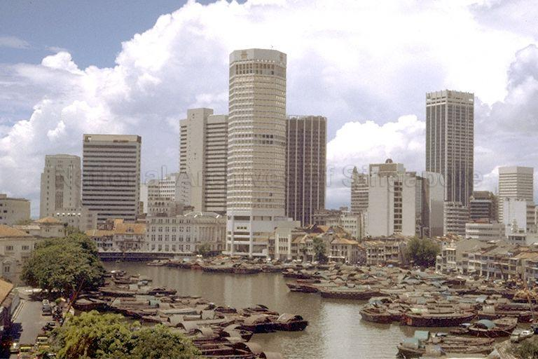 Skyscrapers, including United Overseas Bank (centre) and Hong Leong Building (right), along Singapore River viewed from High Street Centre