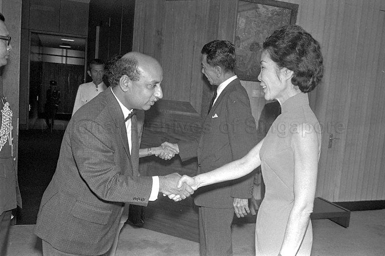Singapore's first Ambassador to Soviet Union P S Raman greeting Mrs Benjamin Sheares when he and his wife call on President Dr Benjamin Henry Sheares at Istana