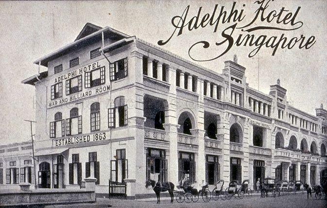 The Adelphi Hotel at Coleman Street. Originally established in Commercial Square (now Raffles Place) in 1863, it was first moved to High Street before being located here. It closed its doors finally on 24 June 1973 and the building was demolished in 1980.