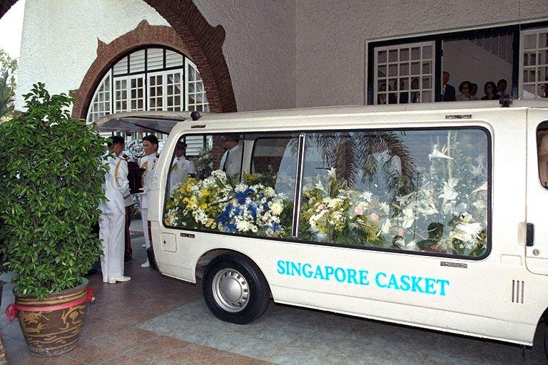 View of casket carrying body of Mrs Ong Siew May, wife of …