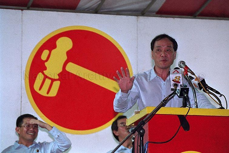 Workers' Party candidate for Hougang Constituency Low Thia Khiang speaking at Workers' Party rally for General Election 2001 at Nee Soon East Constituency at open field at Yishun Avenue 11 and Yishun Ring Road.