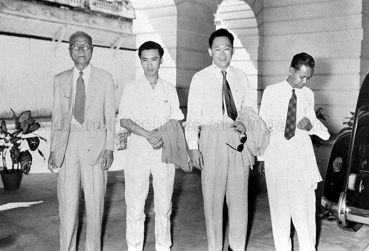 Elected into the Legislative Assembly were (from left) People's Action Party (PAP) candidates Goh Chew Chua, Lim Chin Siong, Lee Kuan Yew and independent candidate Ahmad Ibrahim
