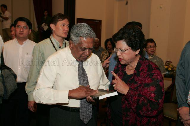 President S R Nathan with Mrs Joseph Francis Conceicao at Eurasian Community House in Ceylon Road where Mr Conceicao's book